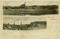 """Grüße aus Hebertsfelden"" – Postkarte die 1904 verschickt wurde. Oben: Blick auf Hebertsfelden, Unten: Tonwerk Hebertsfelden"